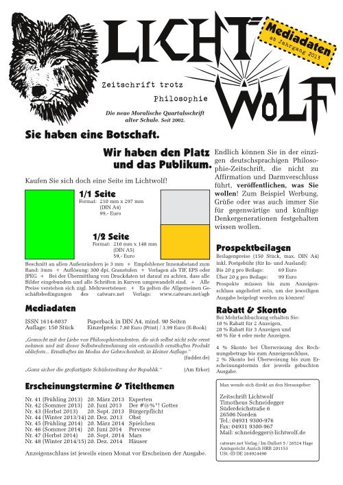 Mediadaten Lichtwolf - Zeitschrift trotz Philosophie